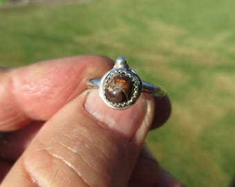 GEMSTONE to GLEE ABOUT - Sterling Silver Mexican Fire Agate Ring - Size 7 3/4 - Free Resizing