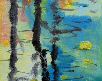 Reflections on a Lake, a one of a kind monotype print
