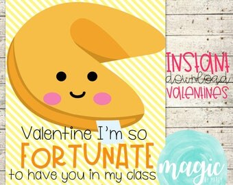 INSTANT DOWNLOAD Stuck on you fortune cookies  Printable  Valentine for Valentines Day