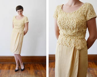 1960s Golden Yellow Lace Cocktail Dress - S