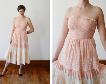 1970s Young Edwardian Strapless Cotton Dress - S/M