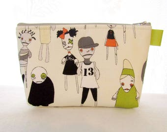 Cute Zombies Attack Fabric Large Cosmetic Pouch Zipper Pouch Makeup Bag Zombie Apocalypse Green Orange Gray Emily Taylor Riley Blake