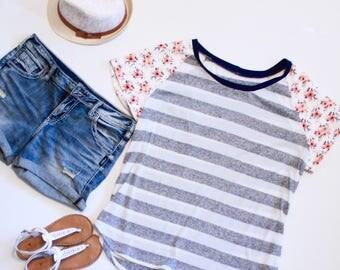 Plus Size Tee, Striped Tshirt, Floral Print Tee, Mixed Print Tshirt, Tshirts for Women, Tee Shirts, Summer Tops