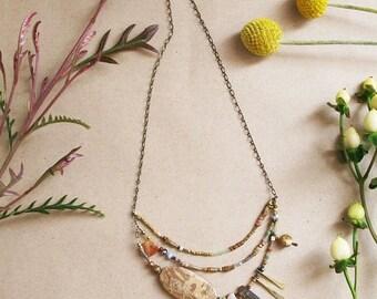 ON SALE Sepia Season Necklace - Picasso Jasper, Labradorite, Imperial Jasper, Earthy Colors Necklace - Asymmetric Beaded Necklace