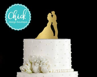 Army Groom and Bride Wedding Cake Topper Hand Painted in Metallic Paint