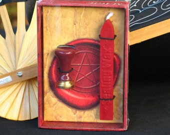 Pentacle Mini-Seal Stamp and Red Sealing Wax Kit~Ritual Spell Supply~Book of Shadows~Witchcraft