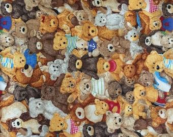 1012 Bear Crowd Children's quilting Fabric, Bear fabric, Children's Fabric, Bear Print Fabric