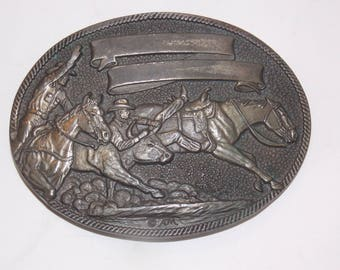 Vintage Brass Race Horse  Belt Buckle