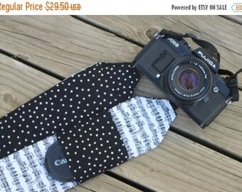SummerSale Monogramming Included Extra Long Wide Camera Strap for DSL camera Sheet Music Print With Black Dot Reverse and  Lens cap pocket
