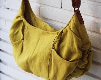 Summer bag / handmade bag / yellow linen handbag / shoulder