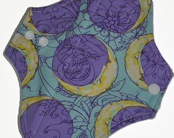 Light Hemp Core- Purple Moons Reusable Cloth Pantyliner Pad- WindPro Fleece- 8.5 Inches