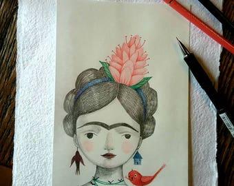Frida- A little red bird brings her a flower