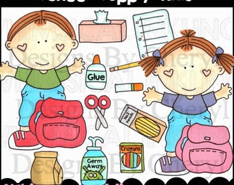 School Supply Kids Clipart Collection- Immediate Download