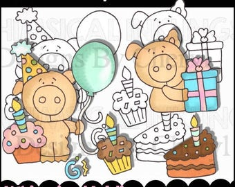 Birthday Pig Out Clipart Collection- Immediate Download