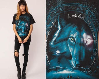 WOLF Pack Shirt Animal T Shirt 90s Graphic Tshirt Galactic Black Hipster 1990s Screenprint Retro Large