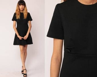 Black Mini Dress 60s Mod Plain 70s Empire Waist Babydoll LBD Polyester Short Sleeve Vintage 1970s Little Black Dress Minidress Small Medium