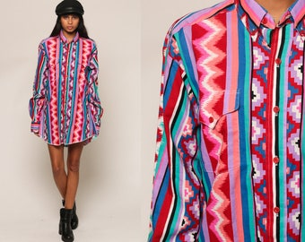 Tribal Shirt Button Up Southwestern Blouse 80s AZTEC Top Boho 90s Vintage Long Sleeve Bright Party Purple Blue Red Large
