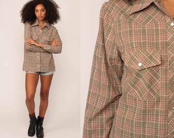 Pearl Snap Shirt 70s Western Plaid Top 1970s Cotton Vintage Hipster Checkered Button Up Yoke Medium