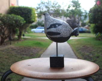 Elegant Mid Century Modern Raku Pottery Bird on a stone stand...