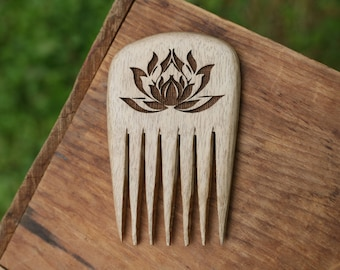 Lotus Myrtlewood Hair Comb - Handmade Wooden Comb - Wooden Hair Comb