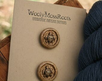 2 Wooden Turtle Buttons- Oregon Myrtlewood- Wooden Buttons- Eco Craft Supplies, Eco Knitting Supplies, Eco Sewing Supplies