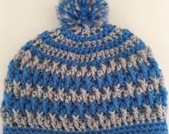 Childs Striped Pom Pom Hat - Size 6 - 12 months - Ready To Ship