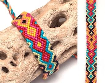 Friendship bracelet - embroidery floss - knotted - macrame - woven - string - thread - handmade - diamond flame  - tribal - aztec