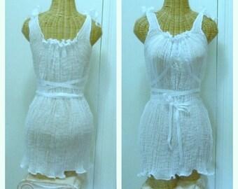 Sheer Lace Up Tank Dress Custom Sizes Corset Cotton Gauze Womens