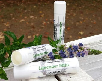 Lavender Mint Herbal Infused Lip Balm, Essential Oil, Dry Lips, Chapped Lips, Twist up Tube,  Natural Care, Lavender Lip Balm, Farm Fresh