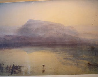 The Blue Rigi Switzerland by J M W Turner, English water color 1949 - print for art lovers English countryside  framable 11 by 14 in