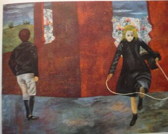 Vintage - Ben Shahn - Girl Jumping Rope 1943 - Framed Print American realism - for art lovers - color plate Americana