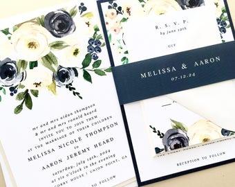 Navy Wedding Invitation, Wedding Invite, Navy Blue, Cream, Watercolor, Floral | PRINTED SAMPLE