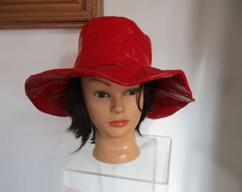Women's Vintage Fire Engine RED Leather Hat Union Made
