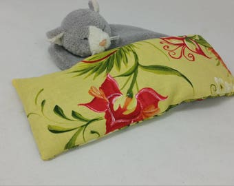 Yellow floral eye pillow, temple to temple coverage, organic flax seed filled, unscented