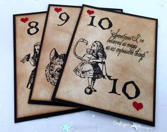 For Sasha-102 Alice in Wonderland Table Cards and 102 Alice in Wonderland Tented Place Cards