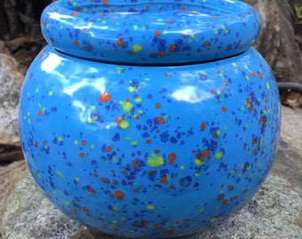 Violet pot, blue, speckled, cobalt, red, yellow, modern, planter, house plant, African violet, self watering
