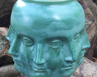 Planter, head, perpetual head planter, frosted, turquoise, ceramic, handmade, head planter, pot, flower pot, vase