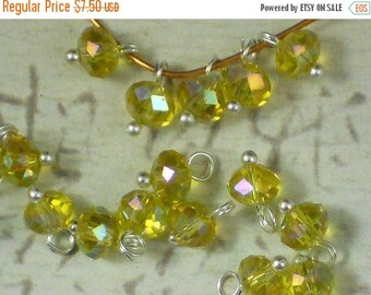 ON SALE 50 Light Yellow AB Dangle Beads 4mm X 6mm Crystal Saucer Rondelle TimeSavers PrEMaDe Dangles (C277)