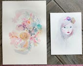 GRAB BAG Originals - Be STill + Ghost Girl Watercolor Paintings