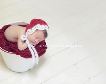 Christmas Mohair Lace Bonnet Photo Prop Newborn Baby Girl Hat Going Home Outfit Hand Knit Shower Gift Coming Photography Winter Christening
