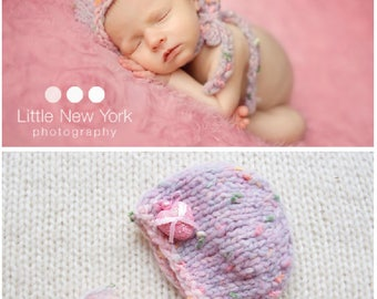 Valentines Girl Bonnet Heart Hat Hand Knit Photography Prop Newborn Baby Knitted Infant Spring Photo Lavender Going Home Pink Outfit Coming