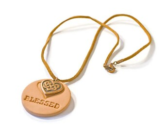 Aromatherapy Essential Oil Diffuser Necklace, Blessed Terracotta Pendant