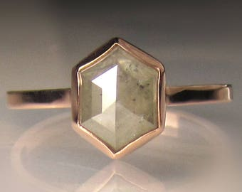 One of a Kind Rose Cut  Diamond Engagement Ring, 14k Rose Gold Diamond Ring