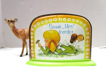 Vintage Toy Toaster, Sunnie Miss Toaster Blonde Pigtail Girl w/ Butterfly Lithograph, Ohio Art, Pretend Kitchen, Made in USA, Nature Lover