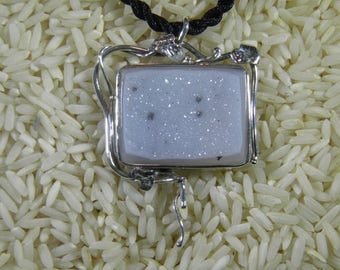 Large Sterling and White Drusy Necklace