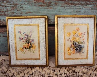 Vintage Italian Florentine Wood Wall Plaque Set Picture Floral Flowers Rose Victorian Picture Gold Gilt Toleware Tole Ware Hollywood Regency