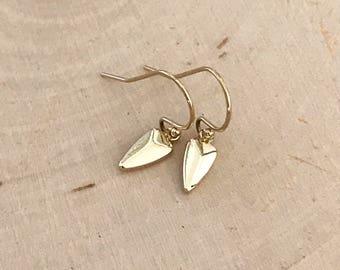Dainty Gold Drop Earrings . Bullet earrings. Arrowhead. Bridesmaid