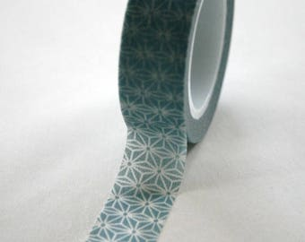 25% Off Summer Sale Washi Tape - 15mm - Steel Blue Grey and White Geometric Pattern - Deco Paper Tape No. 336