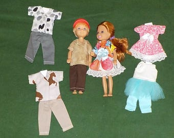 CHLSE-D-3) 5 inch Chelsea and 5 inch Darin dolls and 3 outfits each