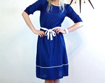 SALE 50% OFF Vintage 70s Pinstripe Dress Navy Blue Short Puff Sleeve Original Belt Stripes Sassy Blousey White Piping Trim Nautical Knee Len